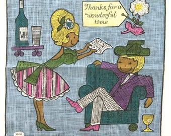 Vintage Handkerchief Thank You Note Skandia Design Hangover Hankie Wine Bottle Glasses