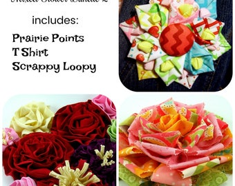Huge Sale ... Mixed Fabric Flower Tutorials 2 ... Includes 3 fabric flowers
