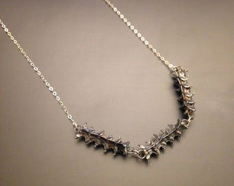 Serpentine sterling silver snake vertebrae necklace - triple horizontal