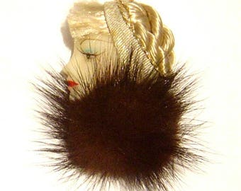 Vintage 1980's Lady Head Face profile Pin brooch Flapper Mink, blonde hair braided hand painted FREE SHIPPING