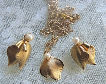 12K Gold Filled Necklace And Clip Earrings, Three Piece Set