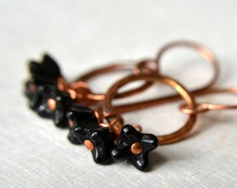 ON SALE Copper and black bead earrings, rustic copper earrings, black flower earrings - Nightingale