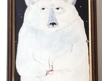 Framed painting on reclaimed wood of a polar bear drinking coffee