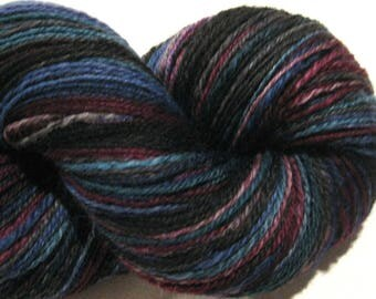 Handspun yarn, Anansi, DK weight, 3 ply, self striping 400 yards Superwash BFL Nylon, sock yarn, knitting supplies, crochet supplies