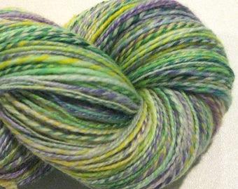 Handspun yarn, Johnny Jump Up 460 yards, DK weight, yellow green purple, 2 ply,  Superwash BFL wool, Nylon, sock yarn, knitting supplies