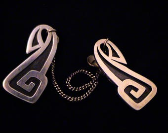 Vintage TAXCO Mexico Modernist Sterling Silver Overlay Sweater Clips