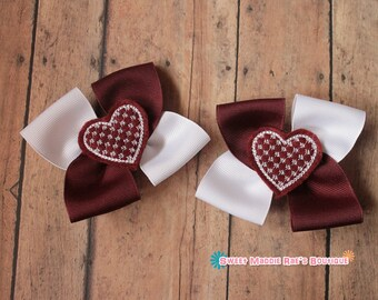Girls Hair Bows--Maroon and White Heart Bows