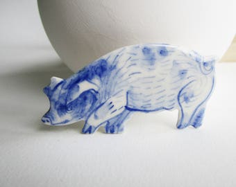 Pig Pin - Brooch - Handpainted Blue Delft Porcelain - unique hand made - Dutch Blue - farm animal