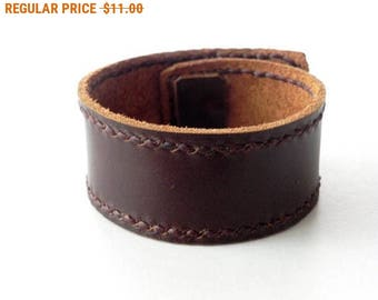 Leather Cuff in Leather Bracelet Leather Bangle with Bronze Button in Dark Brown color