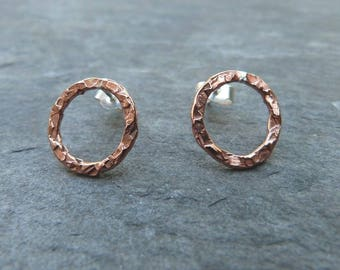 Hammered copper and sterling silver ring studs - 14mm - mixed metal studs -uk