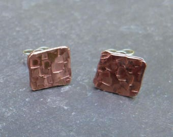 Hammered copper squares - 8mm - textured copper and sterling silver - mixed metal studs -uk