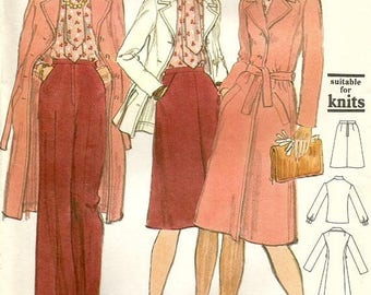 ChristmasinJuly Vintage 70s Vogue 9134 UNCUT Misses Overcoat, Jacket, Blouse, Flared Skirt and Pants Sewing Pattern Size 16 Bust 38