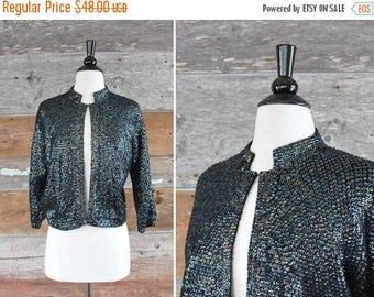 SALE 1960s black wool cardigan sweater with sequins   size m - l