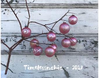 Vintage Ornaments - Christmas Ornaments - Glass Christmas Ornaments - Shabby CHIC Decor - Pink Ornaments - Mercury Glass - Shiny Brite