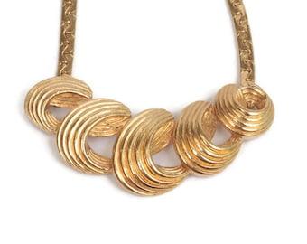 Mod Swirled Design Necklace Gold Tone Vintage Avon