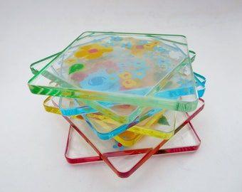 Vintage Floral Drink Coasters, Six Lucite Acrylic Floral Coasters, Retro Colorful Rainbow Plastic Floral Coasters, Pastel Flowers Coasters