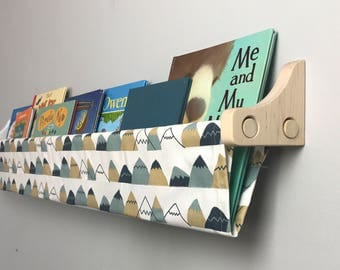 Book Sling and Wooden Brackets - Mountain Print Wall Organizer with brackets - Choose your size