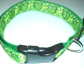 "Green Frogs Dog Collar-Large size 16"" to 25"" adjustable"