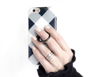 Ring Stand Holder With Retro Gingham Case iPhone and Samsung Galaxy, Expanding Stand and Grip for Smartphones in Grays, Black and White