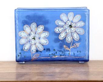 Glass Napkin holder light blue and white gold flower Fused glass art .