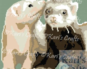 Two Ferrets Afghan Blanket PDF Pattern Graph + Written Instructions - Instant Download