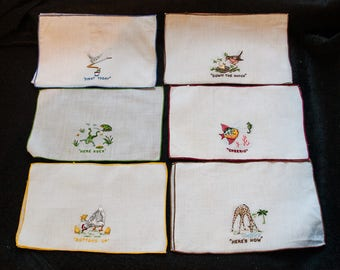 Amusing Vintage Margreb Embroidery Cocktail Napkins