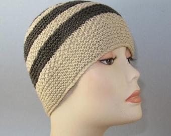 40% OFF SALE Instant Digital pdf download - Moss (Seed) Stitch Stripe Button up Beanie pdf knitting pattern