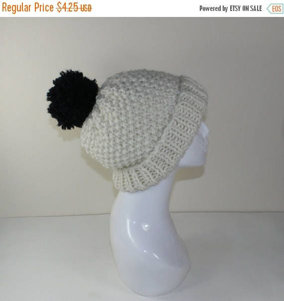 dd0d8f2ef0e SALE Instant Digital File pdf download - Extra Roomy Super Chunky Moss  Stitch Bobble Beanie Hat knitting pattern