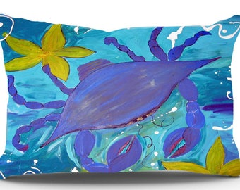 Blue Crab and Starfish Pillow Case from my original art