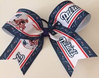 "New England Patriots 8"" wide cheer bow - Stunning!  Super Bowl Football hair bow"