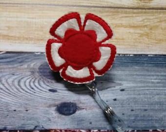 Summer Sale - Retractable Badge Reel - flower - red - Retractable Badge Holder - uniform - ID Holder - Nurse Gift - Hospital Employee Gift
