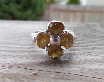 Amazing 'Flower' Citrine Sterling Silver Ring