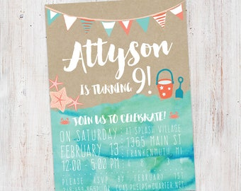 Beach Summer Birthday Invitation : Printable Custom Beach Summer Pool Party Invite Girl Boy