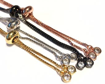 Bracelet making box chain with slider clasp base 4 colors to choose from make a BOLO bracelet with bezel set CZ