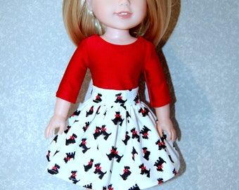 Skirt Shirt for 14 inch Wellie Wishers Christmas Scottie Dog Red - Doll Clothes  tkct1196 READY TO SHIP