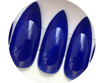 Cobalt Blue Press On Nails | Square, Coffin (Ballerina) Stiletto, Oval Nails | Extra Long Nails | Super Glossy Fake Nails | Drag Nails