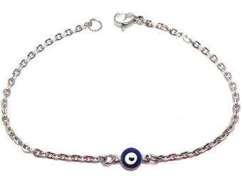 Evil eye bracelet  - dark blue eye - stainless steel - protection - Greek jewelry - Gift for her or for him