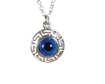Evil eye Greek key necklace - sterling silver - Greek jewelry - fine jewelry - gift for her - Greek gift