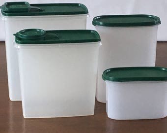 Green Seal Tupperware Set of 4, Modular Mates 1612, 1614, Cereal Keepers 469 and 1588, Kitchen Organizers, Dry Storage, Cereal/Pet Food
