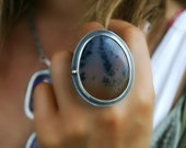 RESERVED - After Sunset - Dendritic Agate Sterling Silver Ring