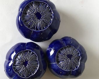 Reserved Listing for Macandzeke Three Ceramic Cobalt Blue Sea Urchin Wall Pods with Blue Glass Beach Home Decor Trio 1