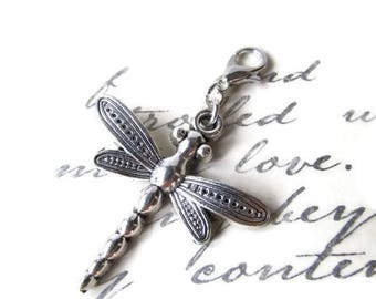 Silver Plated Dragonfly Zipper Pull - Clip-On Charm