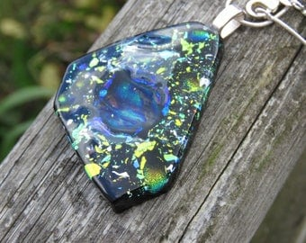 Unique and unsual necklace, geometric shaped black and dichroic glass.