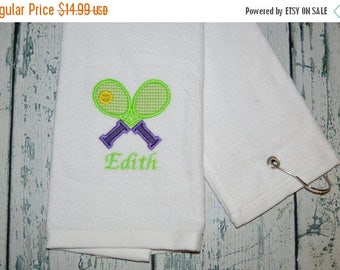 ON SALE Personalized Tennis Towel Custom Embroidered