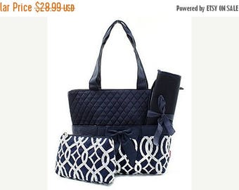 ON SALE Personalized Quilted Navy Vine Diaper Bag 3 pc set with Changing Pad and Zipper Bag - Monogram Diaperbag
