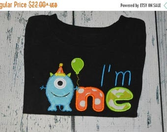 ON SALE PERSONALIZED I'm One Monster Birthday Shirt  Monogrammed