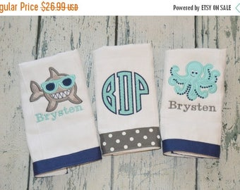 ON SALE Personalized Boys Burp cloth Set of 3  Burpies  Monogrammed - Octopus Shark and Monogram