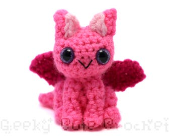 Neon Pink Dragon Plush Toy Stuffed Animal Amigurumi Crochet
