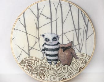 Panda and Owl  (color cotton applique fabric collage in hoop frame)