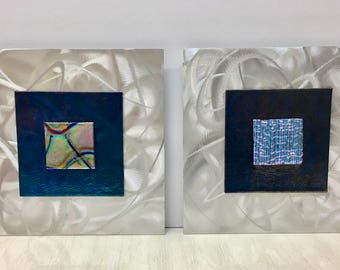 Wall Art, Dichroic Glass on Brushed Metal  ~ Pair of Panels ~ Modern Contemporary Mixed Media, Handmade Jeweltone Brilliant Colors